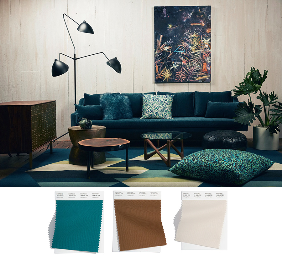 teal blue living room furniture with cream walls from the pantone palette 2022