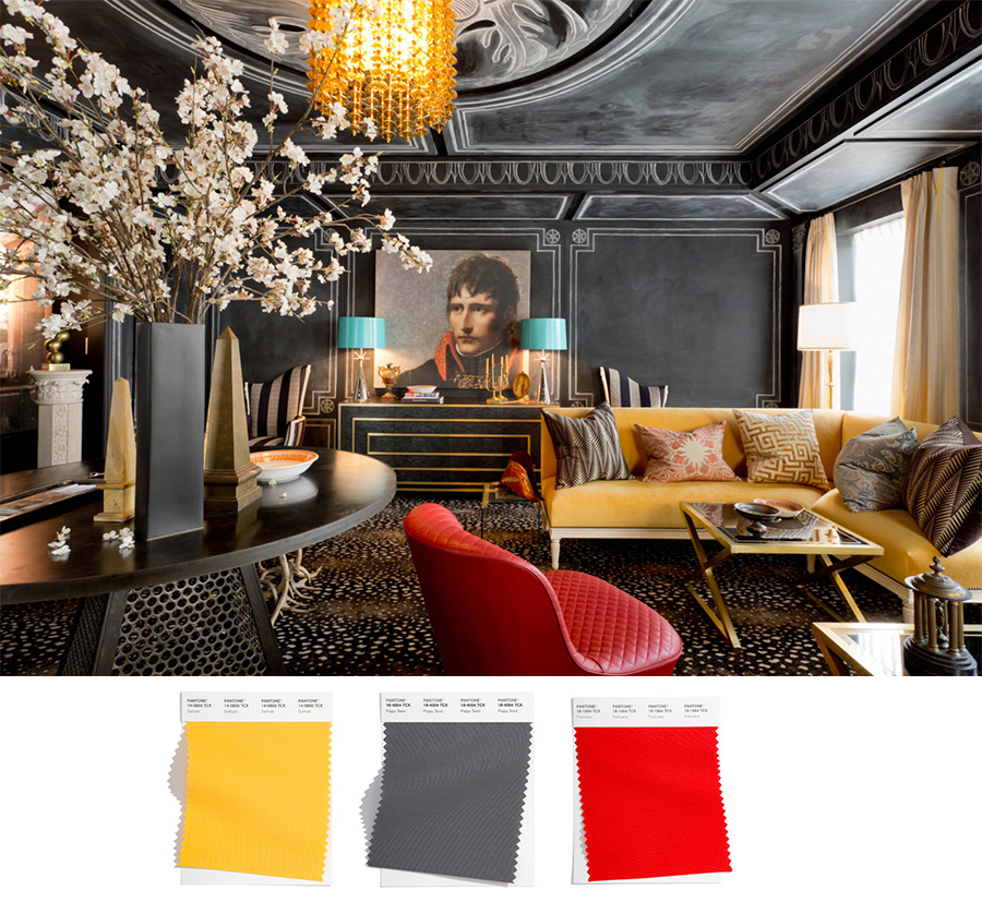 eclectic NY home with gray yellow and red elements