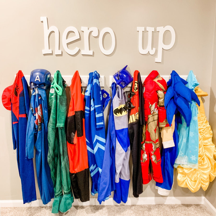children's superhero capes with hero up sign