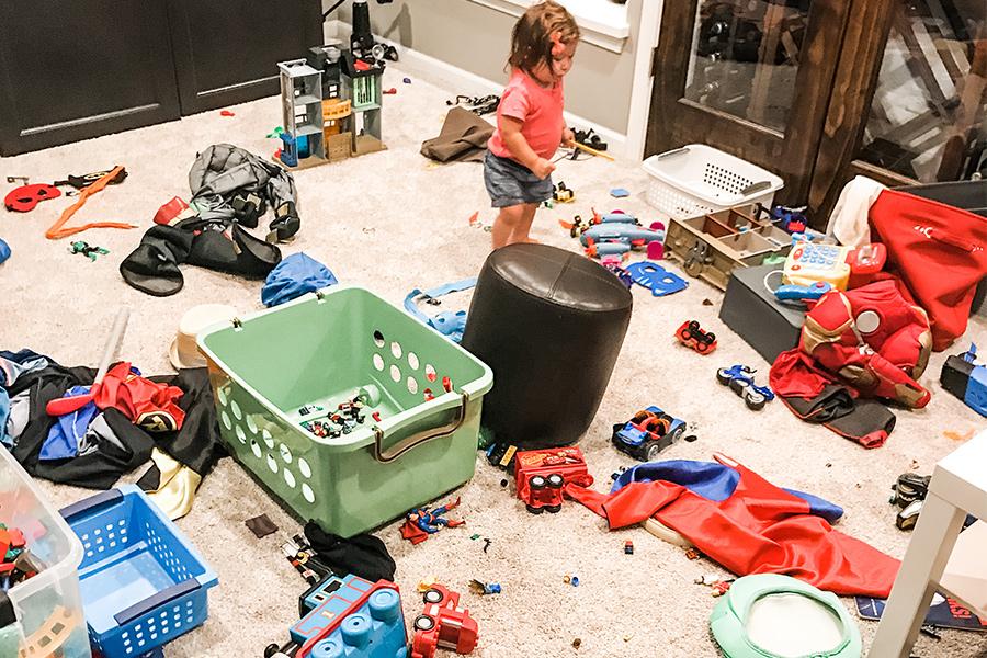 basement full of messy toys