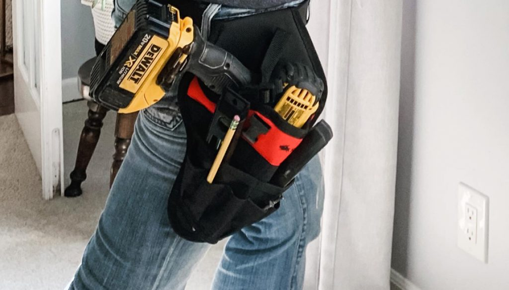 the no cry tool belt for storing drill and DIY tools