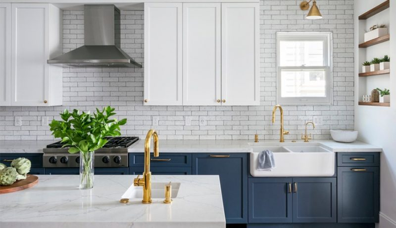 blue kitchen cabinets in skydiver color from the pantone palette 2022