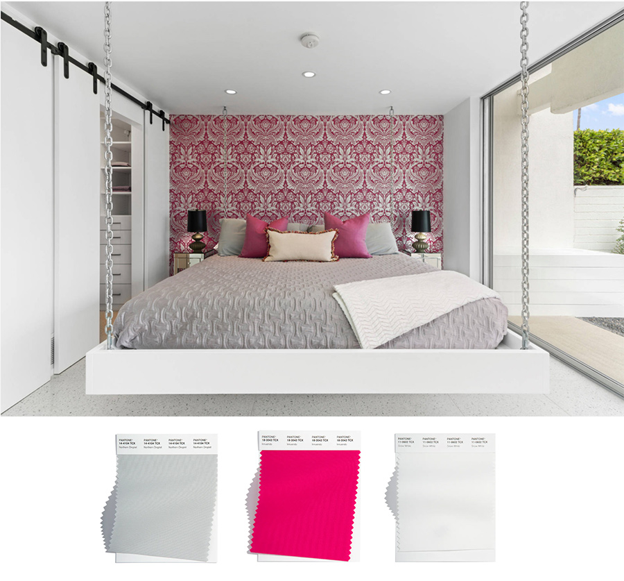 white and gray swiging bed with hot pink wallpaper in bedroom