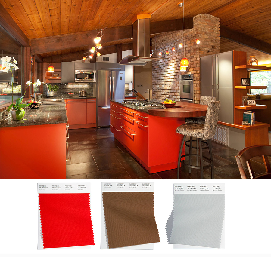 red kitchen with wooden accents
