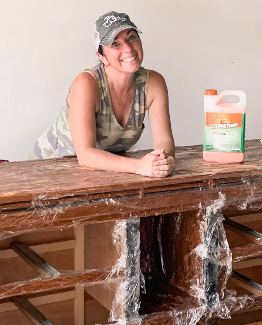 cling wrapped dresser while refinishing
